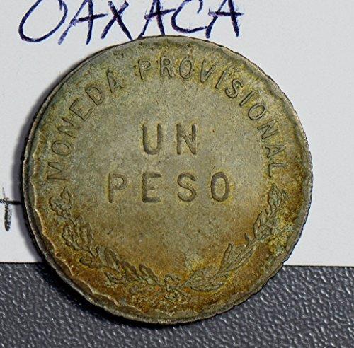 (1915 MX M0169 Mexico Peso oaxaca golden toning silver DE PO-01)