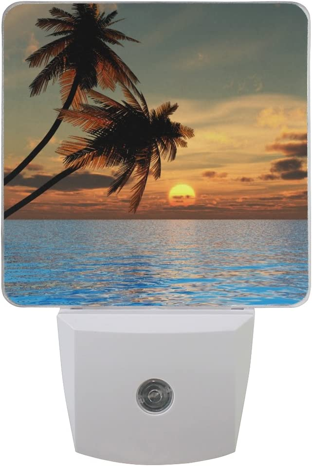 Naanle Set of 2 Sunset Coconut Palm Tree On Beach Blue Ocean Auto Sensor LED Dusk to Dawn Night Light Plug in Indoor for Adults