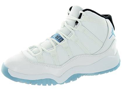 4146cfe1abd Image Unavailable. Image not available for. Color  Jordan Nike Kids 11 Retro  Bp White Legend Blue Black Basketball Shoe ...