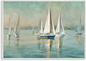 Stupell Industries Traditional Sailboats Water Lake Relaxed Nautical Painting, Designed by Danhui NAI Art, 13 x 19, Wall Plaque
