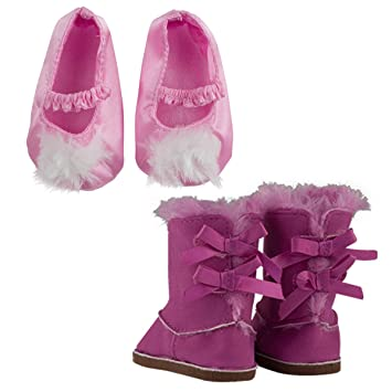 """White Fuzzy Slippers Fits 18/"""" American Girl Doll Clothes Shoes"""