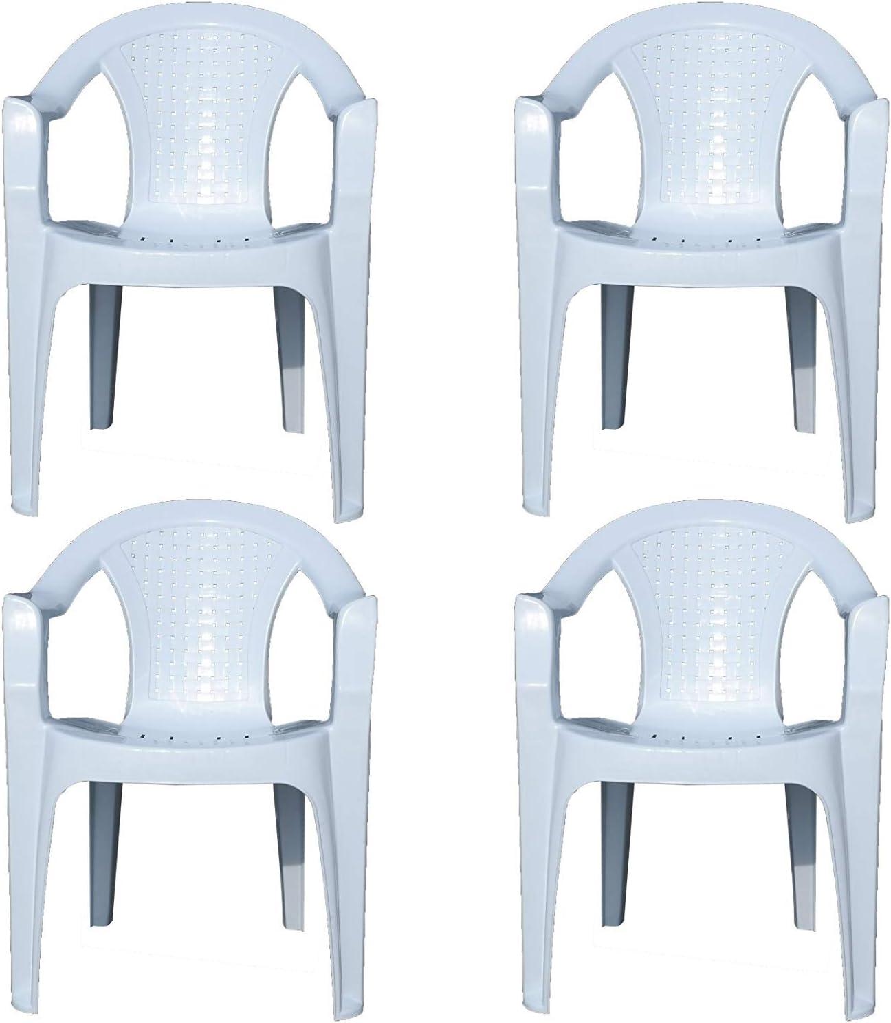 屋内&屋外の白いプラスチック製の芝生チェアガーデンパティオアームチェアスタッキングスタッカブル50 * 43 * 76センチメートル,4