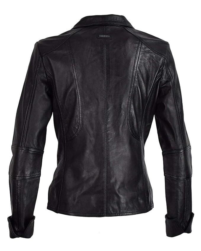 COCO BLACK LABEL since1986 Kurze Damen Jacke mit Reverskragen Bikerjacke Klassische Lederjacke Mariana, Größe:36, Farbe:schwarz