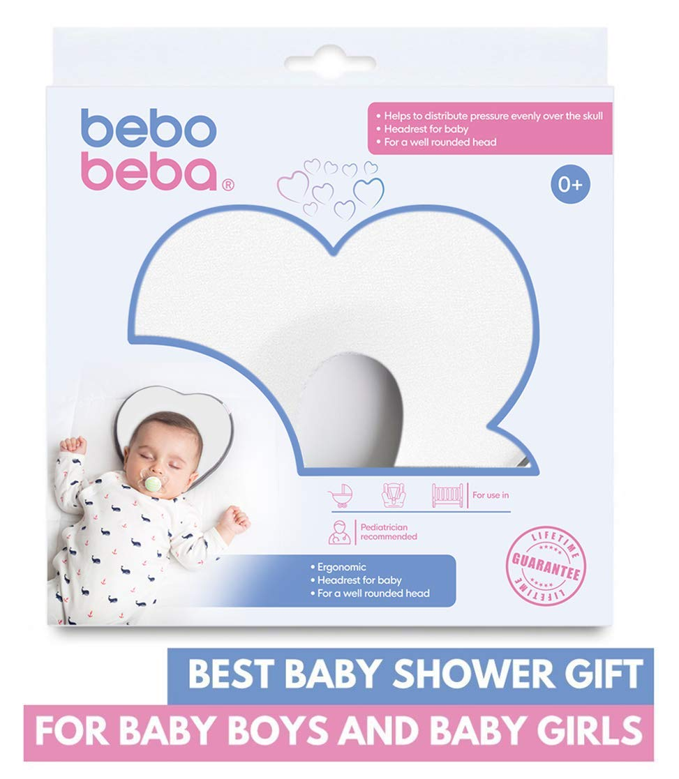 Newborn Baby Head Shaping Pillow | Memory Foam Cushion for Flat Head Syndrome Prevention | Prevent Plagiocephaly | Best Perfect for Baby Boy & Girl (White) by bebo beba