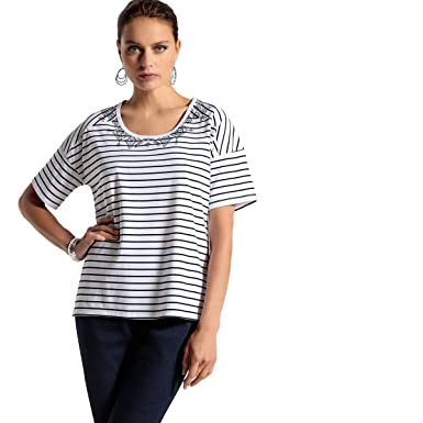La Redoute Womens Striped Cotton T-Shirt at Amazon Women s Clothing store  d877fdf90428
