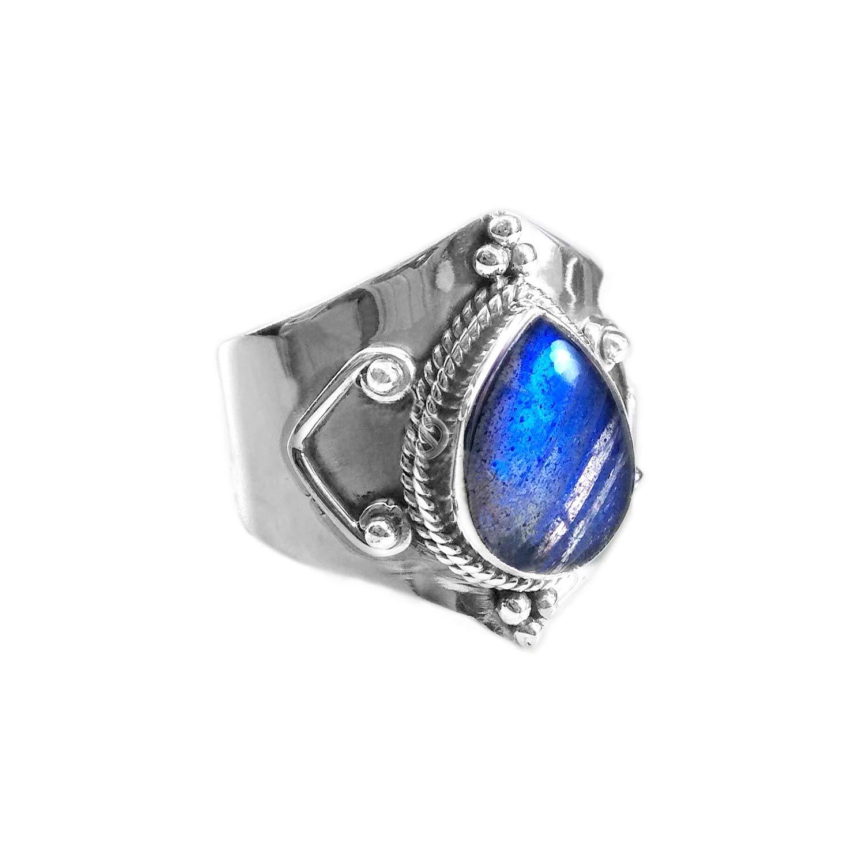Handmade Silver Jewelry Natural Labradorite Ring Labradorite Silver Ring Silver Jewelry Ring 8 Pear Shape Labradorite Ring