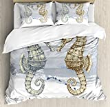 Ambesonne Animal Decor Duvet Cover Set, Seahorse Love Valentine's in Paintbrush Art Technique Grunge Splash on Background, 3 Piece Bedding Set with Pillow Shams, Queen/Full, Gray Cream