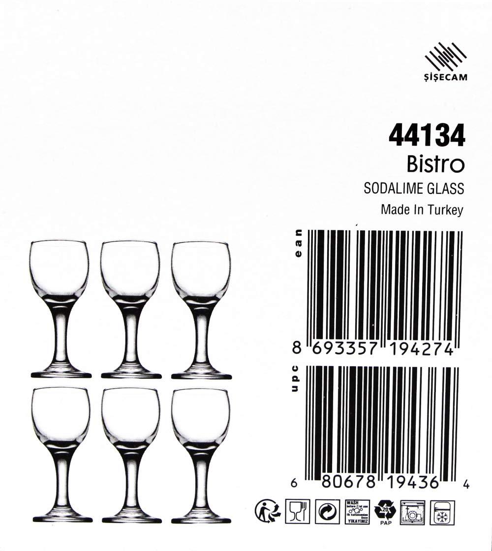 Bistro Cordial & Liqueur Extra Mini Glasses 2 oz (60 cc) – Set of 6