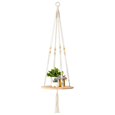 "Mkono Macrame Plant Hangers Indoor Hanging Planter Shelf Decorative Flower Pot Holder Boho Bohemian Home Decor, 45""L : Garden & Outdoor"