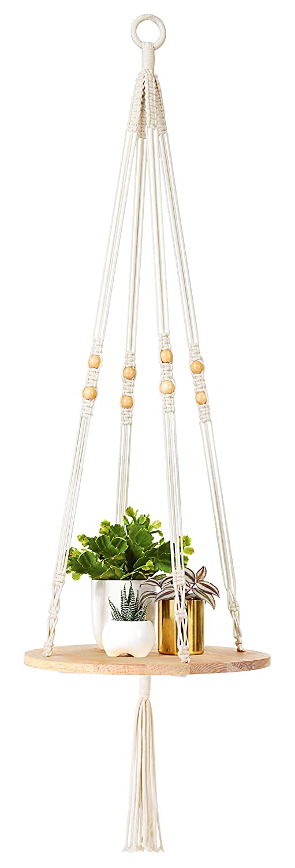 "Mkono Macrame Plant Hangers Indoor Hanging Planter Shelf Decorative Flower Pot Holder Boho Bohemian Home Decor, 45""L"