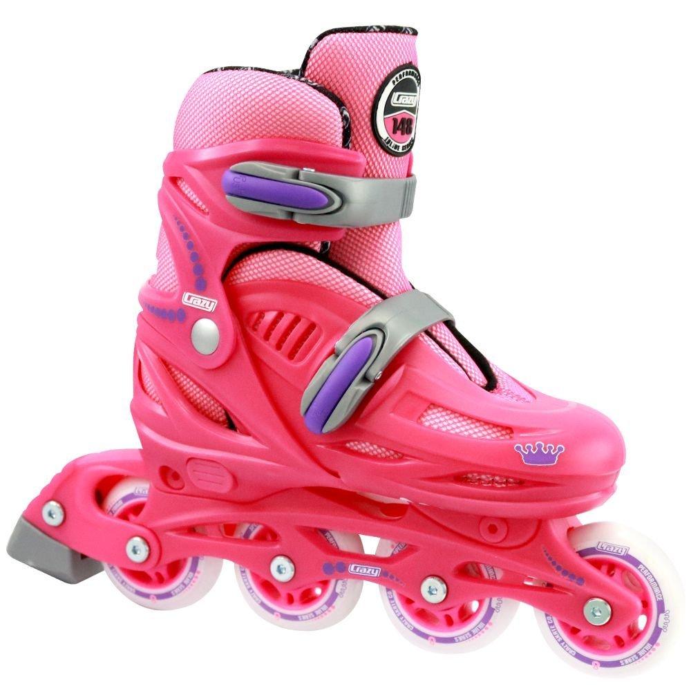 Crazy Skates Adjustable Inline Skates | Adjusts to fit 4 Shoe Sizes | Pink Model 148 Small (Jr 12-2)