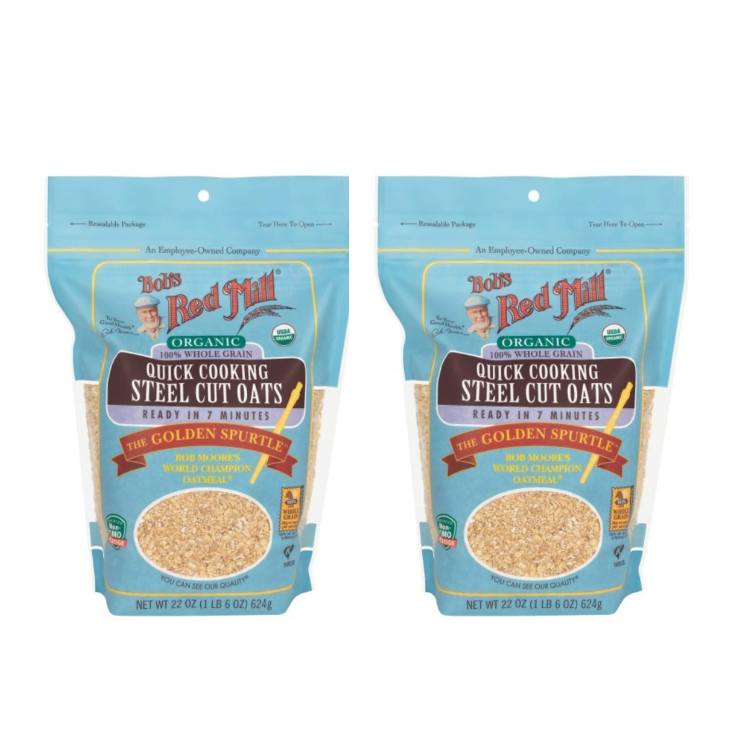 Bob's Red Mill Organic Quick Cooking Steel Cut Oats 22 oz (Two Pack) - Organic Quick Cook Steel Cut Oats - 2 Pack Whole, Organic Oat Groats (22 oz bags, 44 oz total)