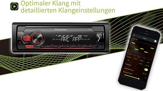 Pioneer Autorradio Deckless MVH-S120UB Iluminación Roja RDS, USB, Negro: Amazon.es: Coche y moto