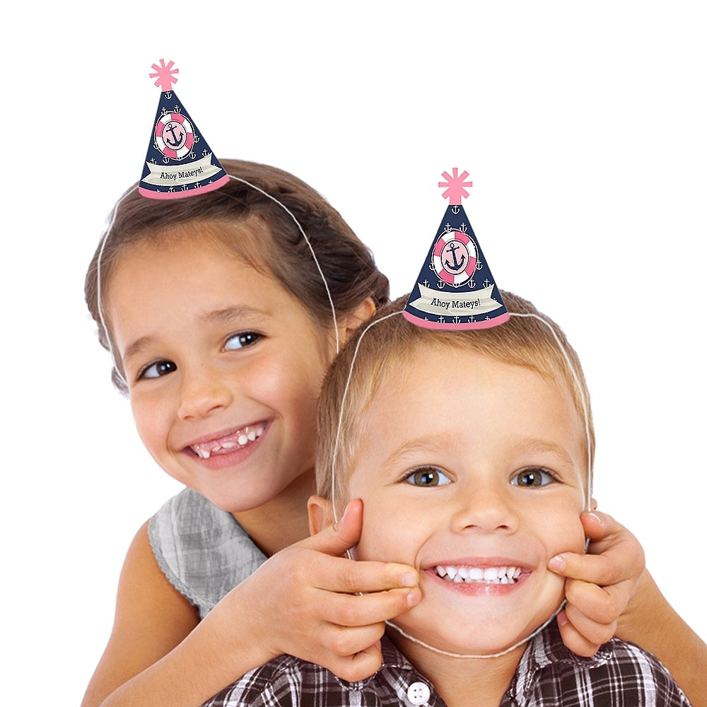 Nautical Girl Set of 10 Small Little Party Hats Ahoy Mini Cone Baby Shower or Birthday Party Hats