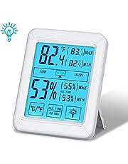 Tvird Termometro Igrometro Digitale con Display RetroilluminatoLCD Schermo di Tocco Retroilluminato,Temperatura Ambiente Interna e Monitor Record Min/Max,°C /°F Commutabile, Comfort di Casa e Ufficio