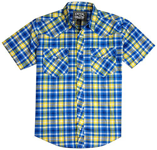 Men's Classic Plaid Short Sleeve Casual Western Shirt; Pearl Snap Front (2X-Large, Blue/Yellow)