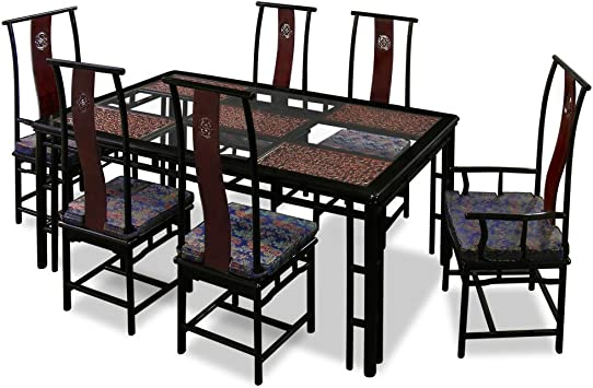 Amazon Com Chinafurnitureonline Rosewood Asian Dining Table 6 Chairs Cao Long Rectangle Style Two Tones Table Chair Sets