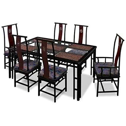 China Furniture Online Rosewood Dining Table, 74 Inches Ming Style  Longevity Motif Dining Set With