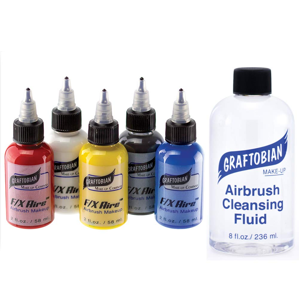 Graftobian F/X Aire Airbrush Body Paint - Primary Colors Set (5 Colors with Cleanser)