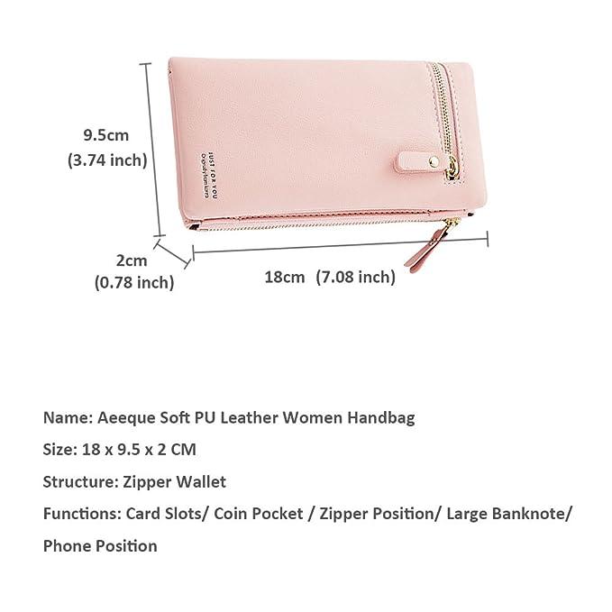 Aeeque 6 tipos de monedero de mujer de piel sintética de ...