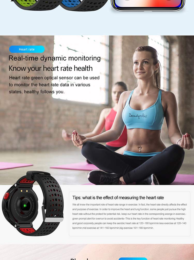 Multifunction Color Screen Dynamic Heart Rate and Blood Pressure Meter and Meter Calorie Counter Sleep Monitor with IP68-level Waterproof Fitness Tracking Smart Watch Red