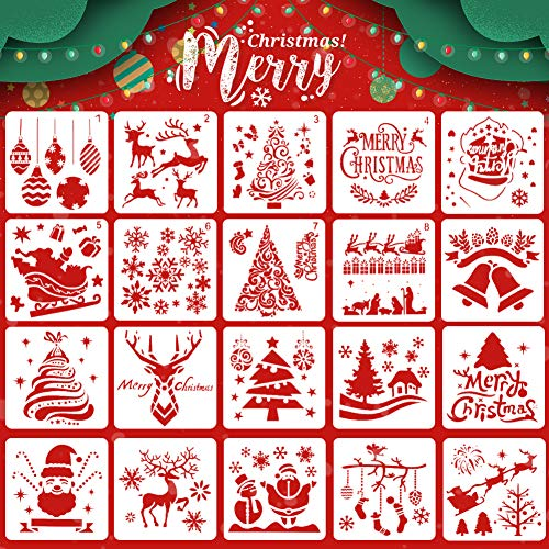 Koogel 20 Pcs Christmas Stencils Template,5inch Drawing Stencils Reusable Stencils for Painting Christmas Snowflakes Snowmen for Planner/Diary/Card/DIY Drawing Painting Craft Projects