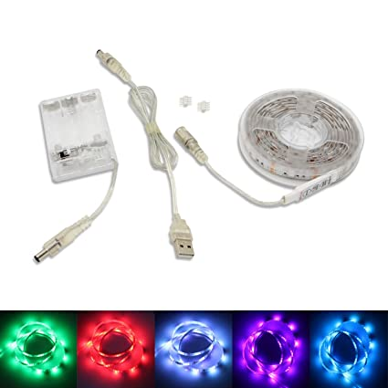 Amazon battery operated usb led strip lights bt 2m656ft rgb battery operated usb led strip lights bt 2m656ft rgb smd 5050 60 aloadofball Gallery