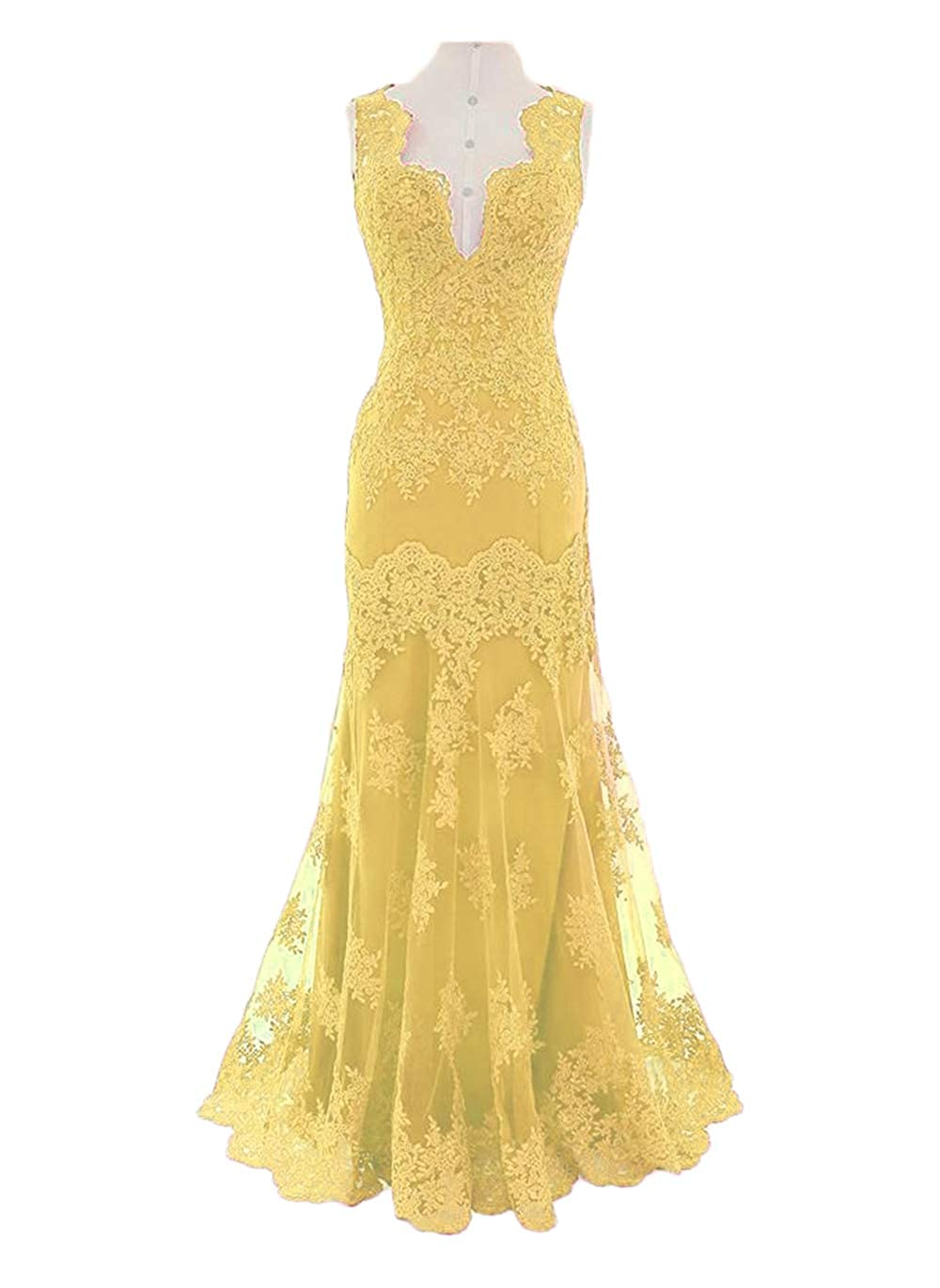 gold alilith.Z Sexy V Neck Prom Dresses Mermaid 2019 Appliques Lace Long Formal Evening Dresses Party Gowns for Women