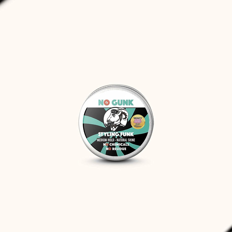 NO GUNK Cera/Pomada de Peinado 100% Natural Orgánica Para Pelo/Barba - Fijación Media - Styling Funk (Original, 10g - Tamaño de prueba)