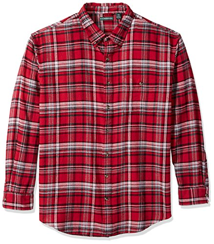 G.H. Bass & Co. Men's Big and Tall Fireside Flannel Plaid Long Sleeve Shirt, Rhubarb, 3X-Large - Plaid Big Shirt Flannel