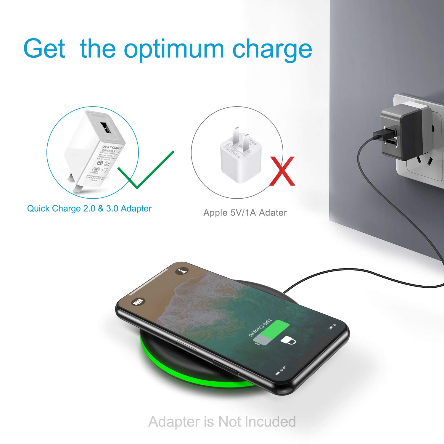 Wireless Charger 10W Qi Fast Wireless Charging Pad, 7.5W Compatible with iPhone 11,Pro,Max,XS Max,XR,XS,X,8,Plus, 10W for Samsung Galaxy Note 10/10+/9/8,S10 Plus S9 S8,AirPods and More (No AC Adapter)