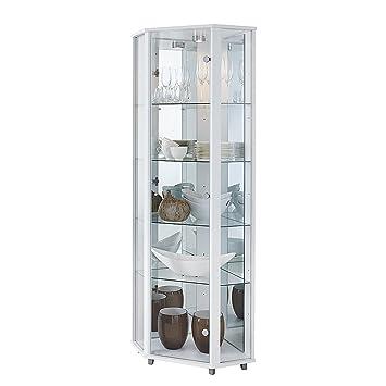Perfect Corner Glass Display Cabinet, Mirror Back, 4 Shelves U0026 Light (White)