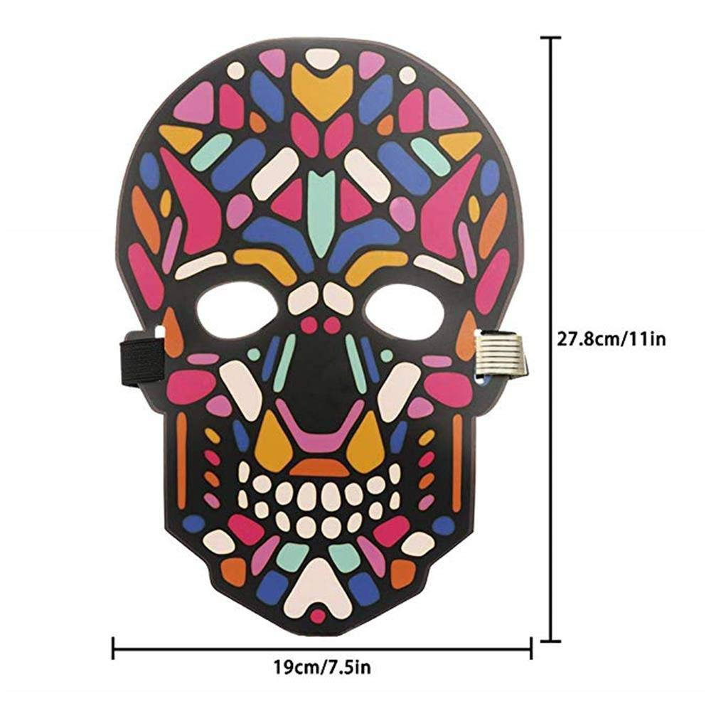 Unpara Halloween LED Mask Party Version Sound Reactive Dance Rave Light Up Adjustable Mask (E) by Unpara_mask (Image #6)