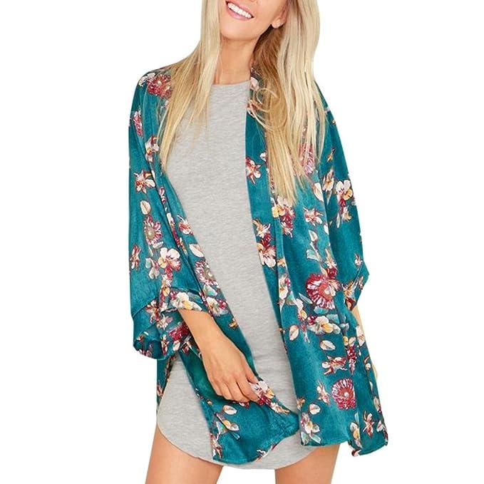 Siswong Verano Mujer Floral Suelto Chal Kimono Rebeca Abrigo Chaqueta Blusa Tops Blusón (XL,