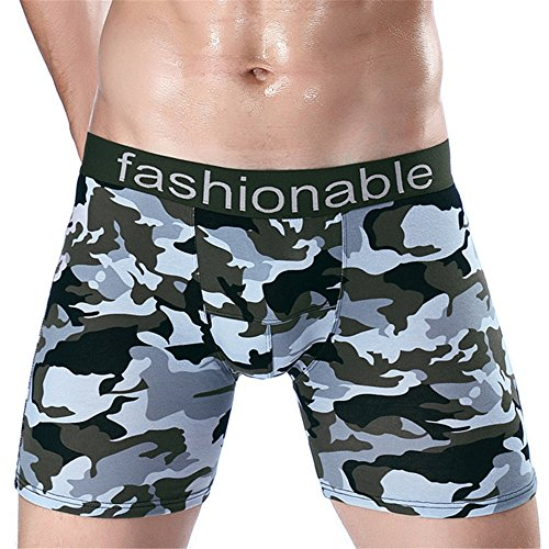 Men Underwear Camouflage Cotton Boxers Shorts Mid-Rised U Convex Pouch Underpants (XXXL)