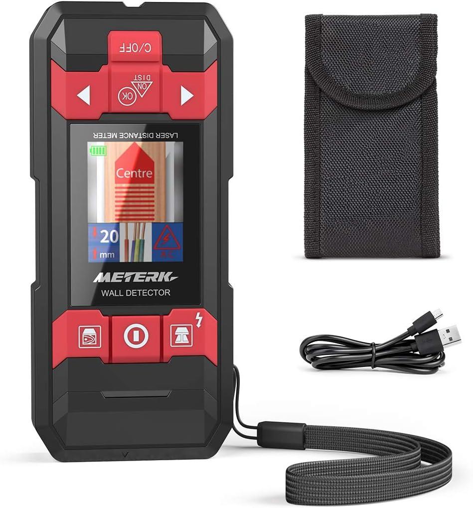 Detector de Pared Telémetro Láser, Meterk 2 en 1 Multiples modos de detección con LCD grande, Retroiluminación para Línea Eléctrica, Madera, Metal y Humedad