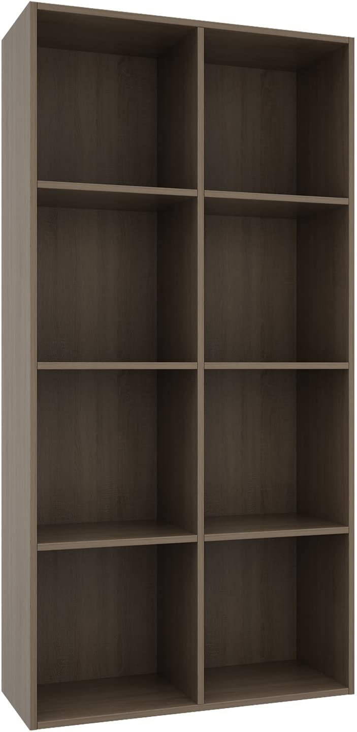 Vanrohe Bookcase/Bookshelf, 8-Cube Storage Organizer Shelves, Open Wooden Display Cabinet for Office/Home/Living Room, Easy to Assemble, Walnut