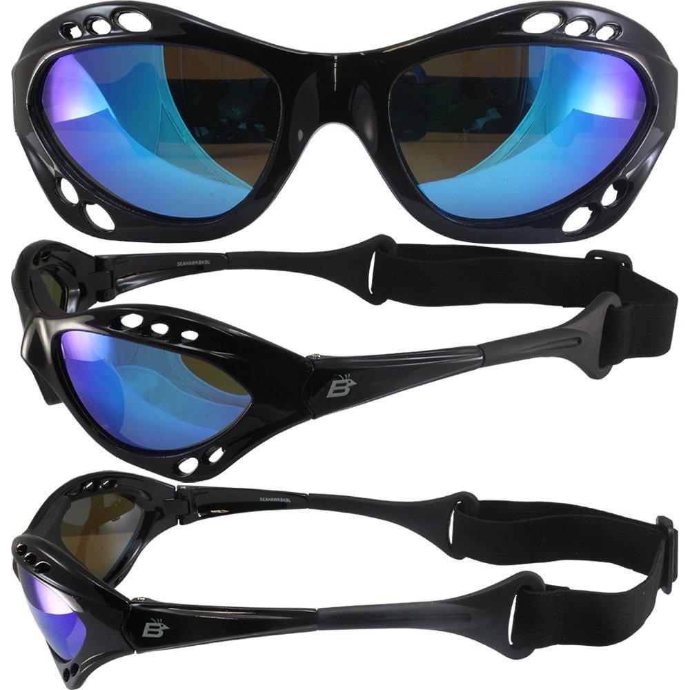 Birdz Seahawk Padded Floating Polarized Sunglasses with Built in Strap Black Frame and Polarized G-Tech Blue Lens