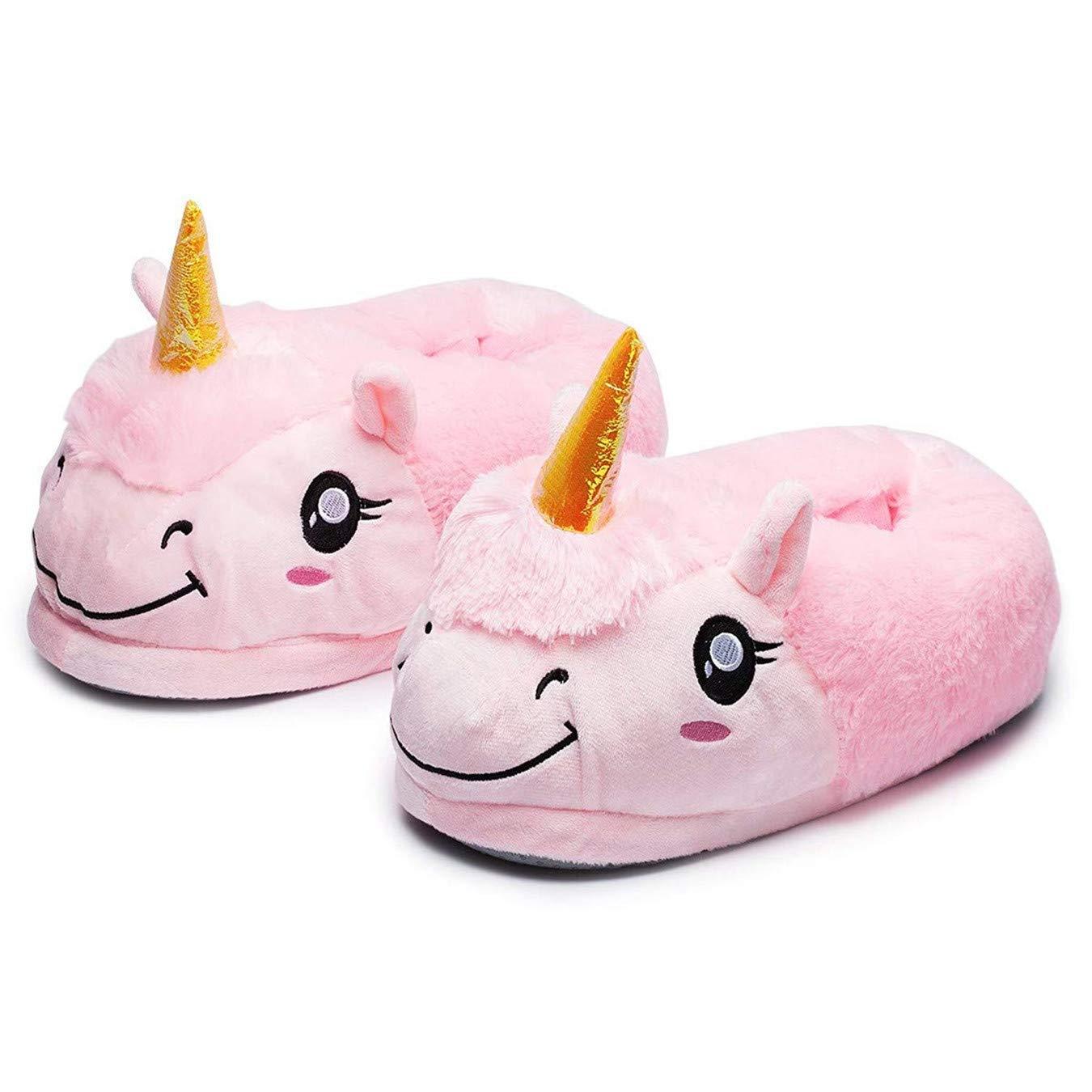 Queque Shine Unisexo Unicornio Felpa Suave Calentar Zapatillas Zapatos Niñ o como Regalo, Talla Ú nica EU25-33 Talla Única EU25-33 (Azul)