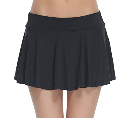 f69d899897 HonourSport Women Cute Cheerleading Skirt Casual Pleated Flare Skort Black S