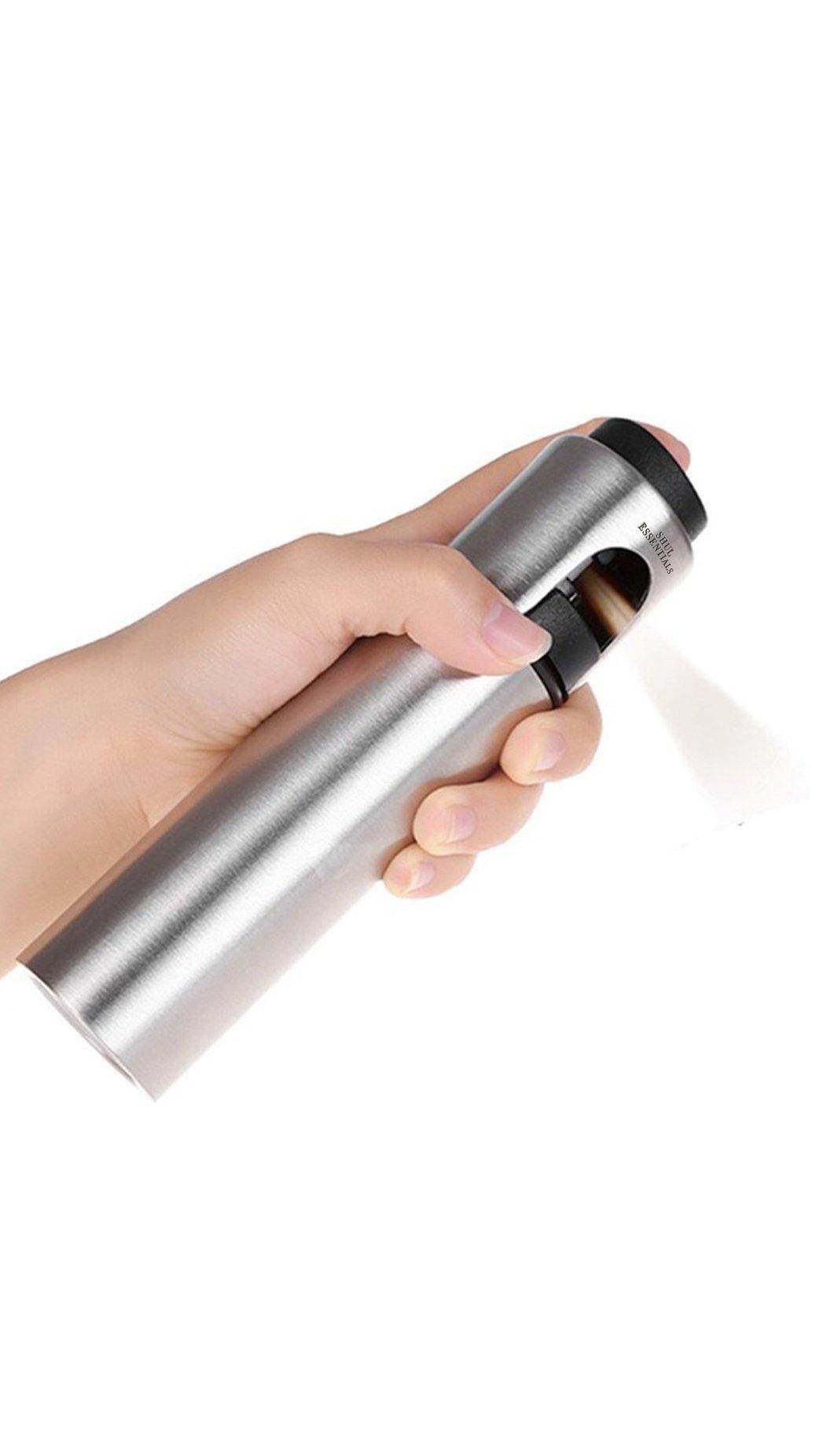Shul Essentials Cooking Oil Sprayer for Kitchen, Grill/Pan Greaser, Salad Dressing Mister, Refill Olive Canola Vegetable Coconut Vinegar, NonAerosol Clog Free Pressure Pump Dispenser Stainless Steel