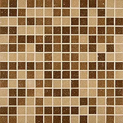 M S International Canyon Vista 12 In. X 12 In. X 4mm Glass Mesh-Mounted Mosaic Tile, (20 sq. ft., 20 pieces per case)