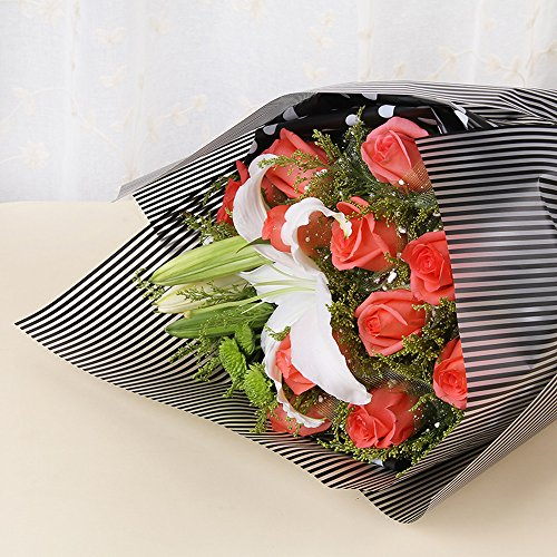 Striped Flower Packaging Paper