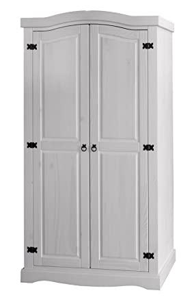 Corona White Pine 2 Door Wardrobe Whitewash Furniture Amazon Co Uk
