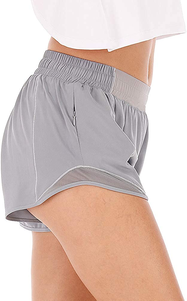 HMIYA Womens Sport Shorts Quick Dry Running Gym Casual Short Lightweight and Breathable with Zip Pockets