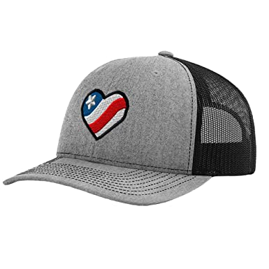 114fa25c Richardson Trucker Hat Heart American Flag B Embroidery Country Polyester  Baseball Mesh Cap Snaps - Heather