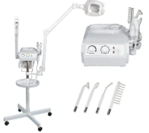 ELITE Series 3 in 1 Aromatherapy Facial Steamer, 5x Magnifying LED Lamp, High Frequency Machine, Instrument Tray for Salon Spa Beauty Equipment