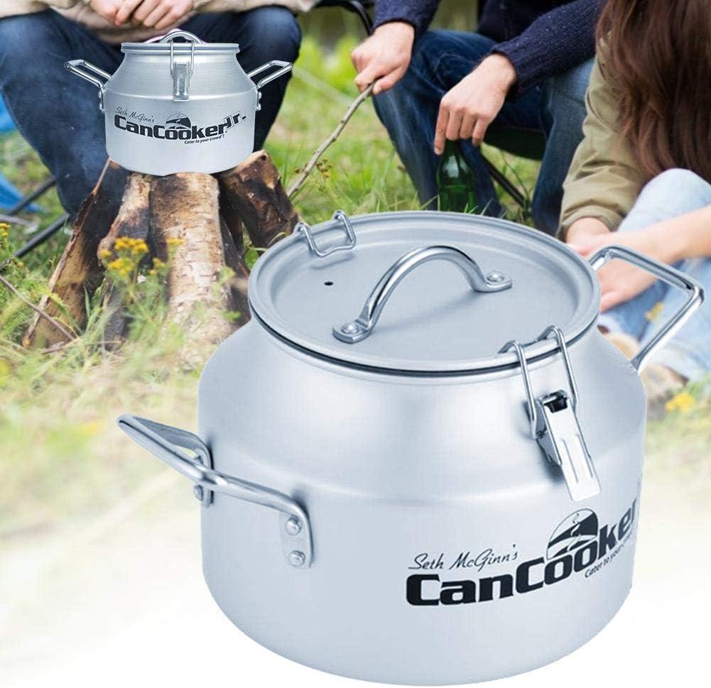 Xiangyin Camping Can Cooker,1.5 Gallon Safe Convection Steam Cooker,Portable Non-stick Aluminum Alloy Outdoor Camping Cookware-Silver