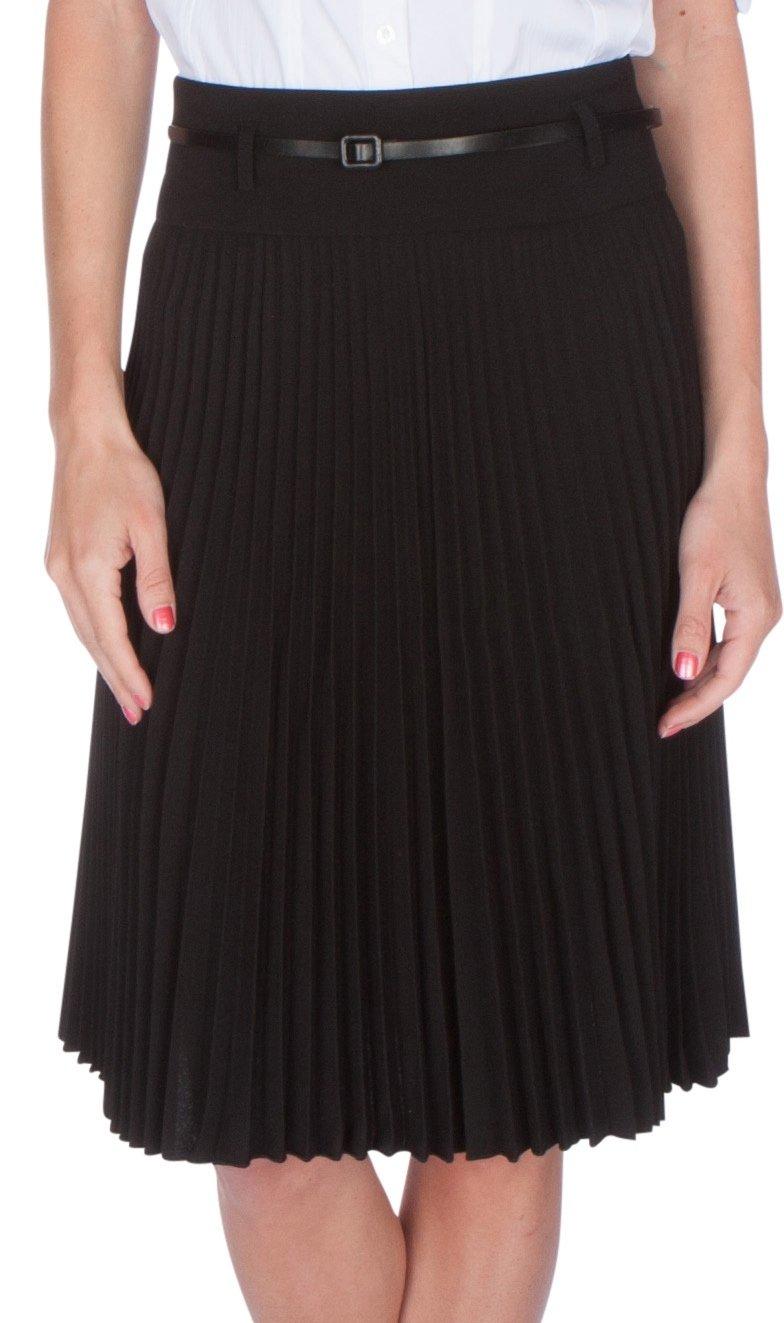 Sakkas FV3543 Knee Length Pleated A-Line Skirt with Skinny Belt - Black/X-Large
