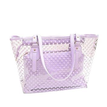 Tinksky Bolso transparente de la playa con el bolso interior del monedero, regalo del día de madre o regalo para las mujeres (púrpura)